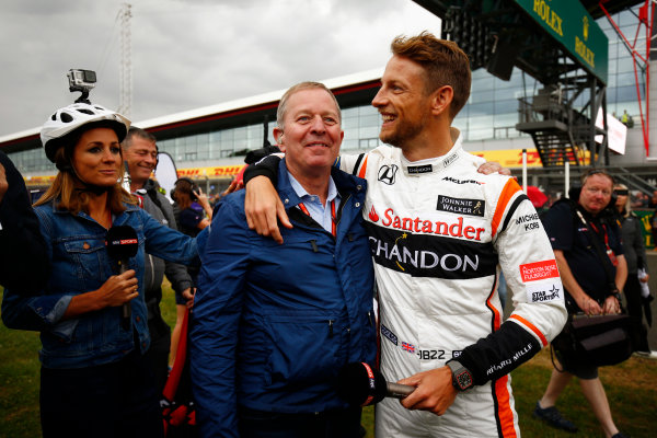 Silverstone, Northamptonshire, UK.  Thursday 13 July 2017. Jenson Button, McLaren, greets Sky pundit Martin Brundle. World Copyright: Andy Hone/LAT Images  ref: Digital Image _ONZ3339