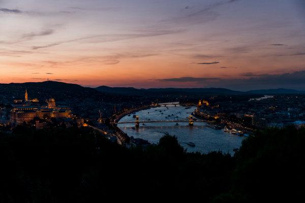 Hungaroring, Budapest, Hungary. Monday 5 June 2017. A view of the city at sunset. World Copyright: Zak Mauger/LAT Images ref: Digital Image _56I0573