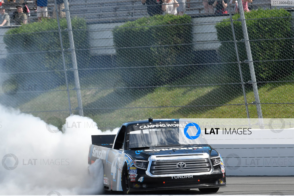 NASCAR Camping World Truck Series Overton?s 150 Pocono Raceway, Long Pond, PA USA Saturday 29 July 2017 Christopher Bell, SiriusXM Toyota Tundra, does a burnout after winning World Copyright: John K Harrelson LAT Images