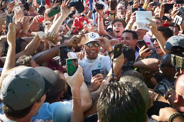 Autodromo Nazionale di Monza, Italy. Sunday 3 September 2017. Lewis Hamilton, Mercedes AMG, gets mobbed by fans. World Copyright: Steve Etherington/LAT Images  ref: Digital Image SNE15566