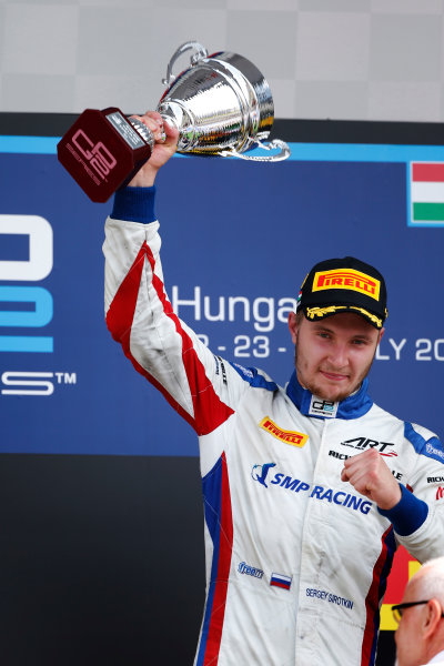 Sergey Sirotkin (RUS, ART Grand Prix) lifts the trophy after winning in Hungary 2016 GP2 Series Round 6 Hungaroring, Budapest, Hungary Sunday 24 July 2016  Photo: /GP2 Series Media Service ref: Digital Image _W2Q7459