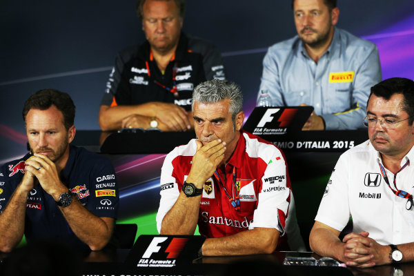 Autodromo Nazionale di Monza, Monza, Italy. Friday 4 September 2015. Christian Horner, Team Principal, Red Bull Racing, Mauricio Arrivabene, Team Principal, Ferrari, and Eric Boullier, Racing Director, McLaren, in the Team Principals Press Conference. World Copyright: Jed Leicester/LAT Photographic ref: Digital Image JL2_8018