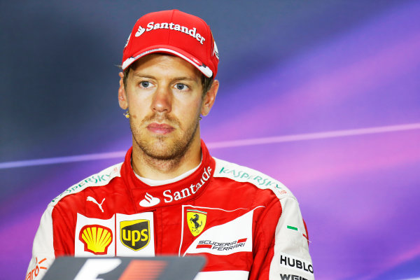 Hungaroring, Budapest, Hungary. Sunday 26 July 2015. Sebastian Vettel, Ferrari, 1st Position, in the Press Conference. World Copyright: Alastair Staley/LAT Photographic ref: Digital Image _R6T9459