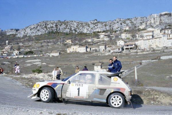 1986 World Rally Championship.Monte Carlo Rally, Monaco. 18-24 January 1986.Timo Salonen/Seppo Harjanne (Peugeot 205 Turbo 16 E2), 2nd position.World Copyright: LAT PhotographicRef: 35mm transparency 86RALLY20