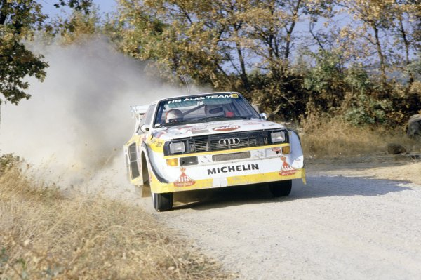 1985 World Rally Championship.Sanremo Rally, Italy. 29 September-4 October 1985.Walter Rohrl/Christian Geistdorfer (Audi Sport Quattro E2), 1st position.World Copyright: LAT PhotographicRef: 35mm transparency 85RALLY09