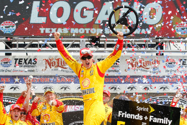 4-6 April, 2014, Fort Worth, Texas USA Joey Logano celebrates in victory lane ©2014, Matthew T. Thacker LAT Photo USA