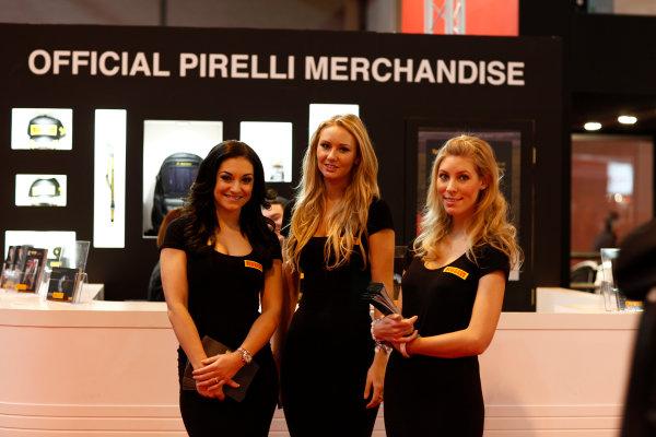 Autosport International Show NEC, Birmingham.  Sunday 12 January 2014. Pirelli girls. World Copyright:Adam Warner/LAT Photographic ref: Digital Image _MG_8386