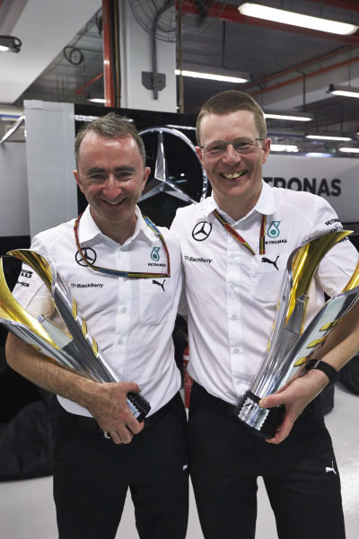 Marina Bay Circuit, Singapore. Sunday 21 September 2014. Paddy Lowe, Executive Director (Technical), Mercedes AMG, with the trophies. World Copyright: Steve Etherington/LAT Photographic. ref: Digital Image SNE19471