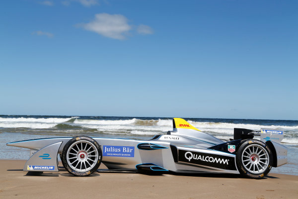 FIA Formula E Test Day. Formula E Car on the beach. Punta Del Este, Uruguay, South America. Formula E Third Race Event, 11th - 14th December 2014. Sunday 14 December 2014.  Photo: Adam Warner/LAT/FE ref: Digital Image _L5R5099