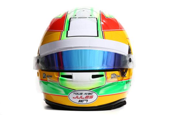 Albert Park, Melbourne, Australia. Helmet of Roberto Merhi, Manor Marussia F1.  Thursday 12 March 2015. World Copyright: LAT Photographic. ref: Digital Image 2015_Helmet_050