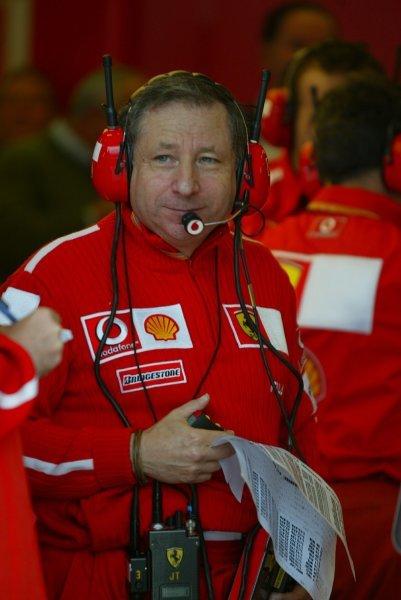 Jean Todt (FRA) Ferrari General Manager.Formula One World Championship, Rd15, United States Grand Prix, Indianapolis, USA, 26 September 2003.DIGITAL IMAGE