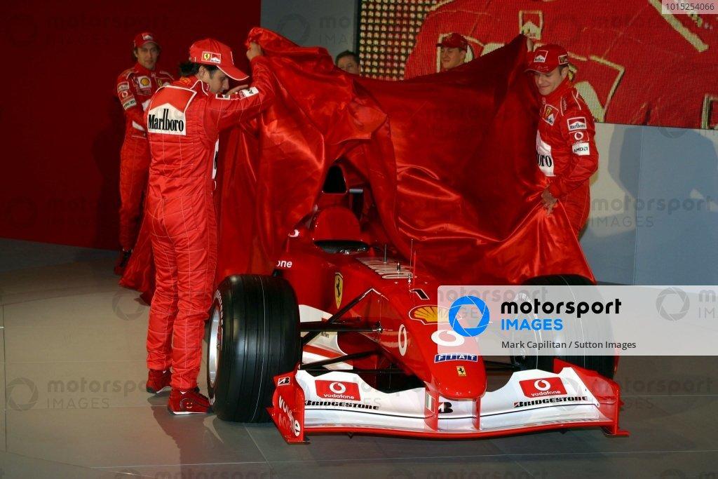 New test driver Felipe Massa (BRA) and Rubens Barrichello (BRA) unveil the new Ferrari F2003-GA.Ferrari F2003-GA Launch, Maranello, Italy, 7 February 2003.DIGITAL IMAGE