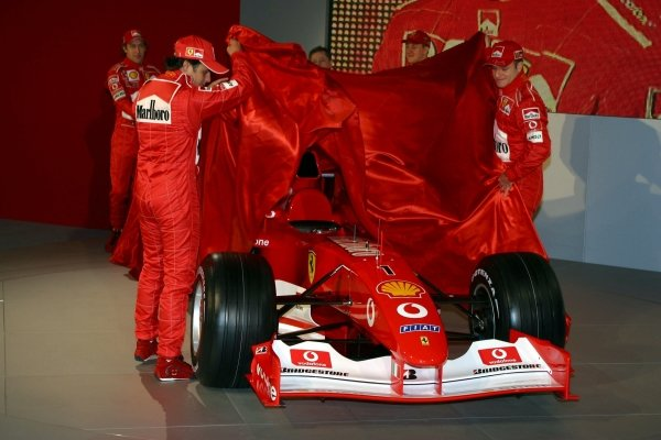 New test driver Felipe Massa (BRA) and Rubens Barrichello (BRA) unveil the new Ferrari F2003-GA.