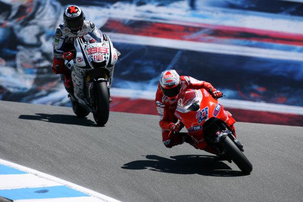 USA Laguna Seca 23-25 July 2010Casey Stoner Ducati Marlboro Team leads Jorge Lorenzo Fiat Yamaha Team