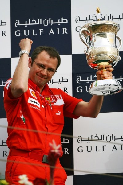 Stefano Domenicali (ITA) Ferrari Manager of F1 Operations on the podium.