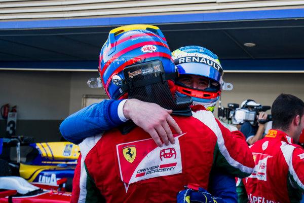 2017 FIA Formula 2 Round 10. Circuito de Jerez, Jerez, Spain. Saturday 7 October 2017. Charles Leclerc (MCO, PREMA Racing), Oliver Rowland (GBR, DAMS).  Photo: Zak Mauger/FIA Formula 2. ref: Digital Image _X0W2209