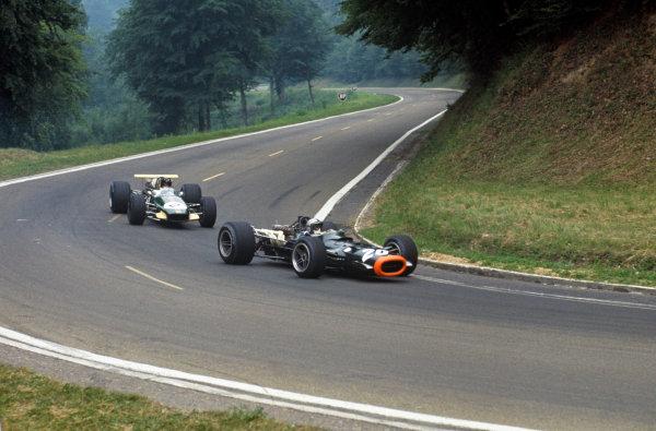Rouen-Les-Essarts, France. 5-7 July 1968. Pedro Rodriguez (BRM P133) leads Jochen Rindt (Brabham BT26 Repco). Ref-68FRA08. World Copyright - LAT Photographic