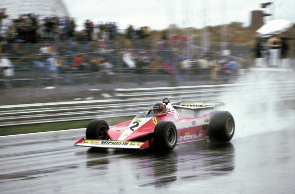 Montreal, Quebec, Canada. 6 - 8 October 1978.Gilles Villeneuve (Ferrari 312T3) 1st position, for his maiden Grand Prix win , action. World Copyright: LAT Photographic.Ref:  78CAN16.