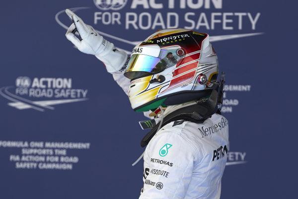 Circuit de Catalunya, Barcelona, Spain. Saturday 10 May 2014. Pole man Lewis Hamilton, Mercedes AMG, celebrates. World Copyright: Steve EtheringtonLAT Photographic. ref: Digital Image SNE14897 copy