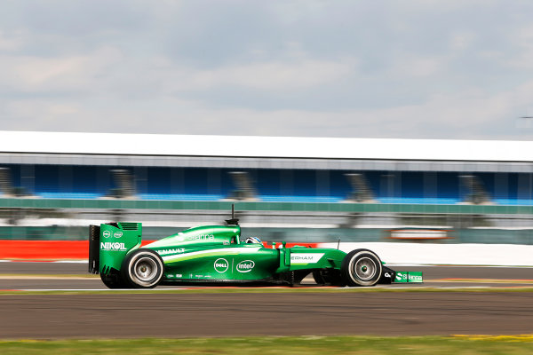 Silverstone, Northamptonshire, England. Wednesday 9 July 2014. Julian Leal, Caterham CT05 Renault. World Copyright: Zak Mauger/LAT Photographic. ref: Digital Image _L0U7919
