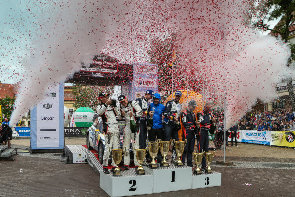 2016 FIA World Rally Championship, Round 07, Rally Poland,  June 30 - July 03, 2016 Andreas Mikkelsen, Ott Tanak, Hayden Paddon, podium Worldwide Copyright: McKlein/LAT
