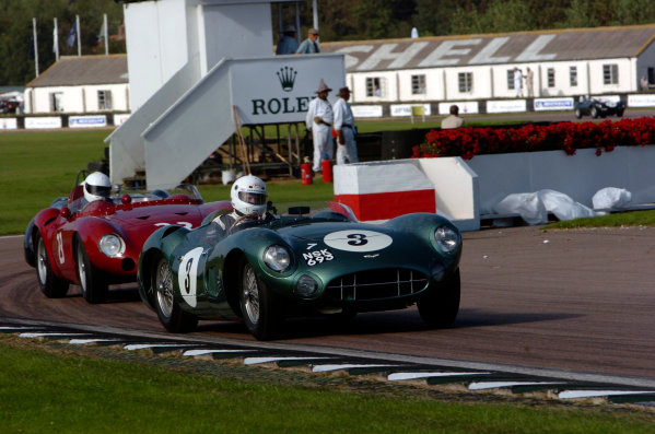 2004 Goodwood Revival MeetingGoodwood, England. 3rd - 5th September 2004.Sussex Trophy World C'ship Sports CarsTony Dron (Aston Martin DBR1), leads Mark Gillies (Maserati 300S), action.World Copyright: Jeff Bloxham/LAT Photographicref: Digital Image Only