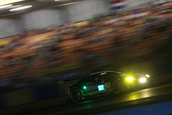 2017 Le Mans 24 Hours Circuit de la Sarthe, Le Mans, France. Thursday 15 June 2017 #97 Aston Martin Racing Aston Martin Vantage: Darren Turner, Jonny Adam, Daniel Serra  World Copyright: JEP/LAT Images