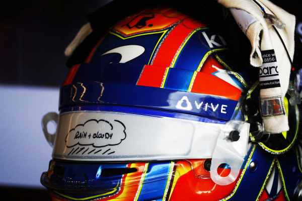 Rain and Cloudy visor fitted to the helmet of Lando Norris, McLaren