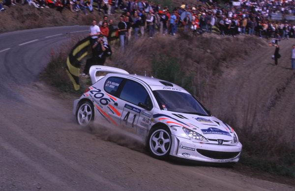 FIA World Rally ChampsCatalunya Rally, Spain. 30/3-2/4/2000P Guellerin, Peugeot 206 WRC.photo: World - McKleintel: (+44) 0208 251 3000e-mail: digital@latphoto.co uk35mm Original Image.