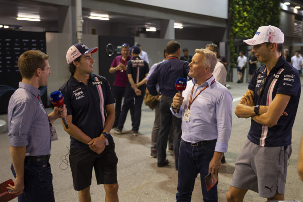 Anthony Davidson, Sky TV and Johnny Herbert, Sky TV talks with Sergio Perez, Racing Point Force India F1 Team and Esteban Ocon, Racing Point Force India F1 Team