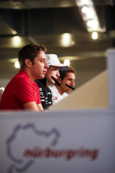 (Left to right) Robin Frijns, Audi Sport Team Abt Sportsline, Joel Eriksson, BMW Team RBM and Daniel Juncadella, Mercedes-AMG Team HWA.