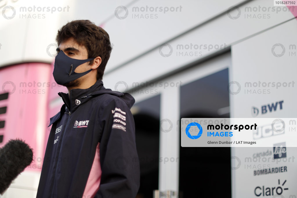 Lance Stroll, Racing Point speaks to the media.