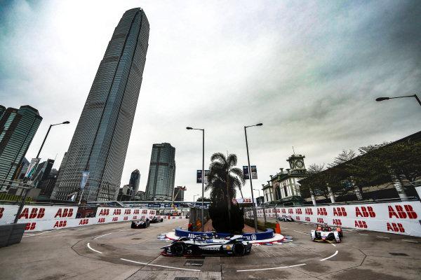 Sébastien Buemi (CHE), Nissan e.Dam, Nissan IMO1 leads Daniel Abt (DEU), Audi Sport ABT Schaeffler, Audi e-tron FE05