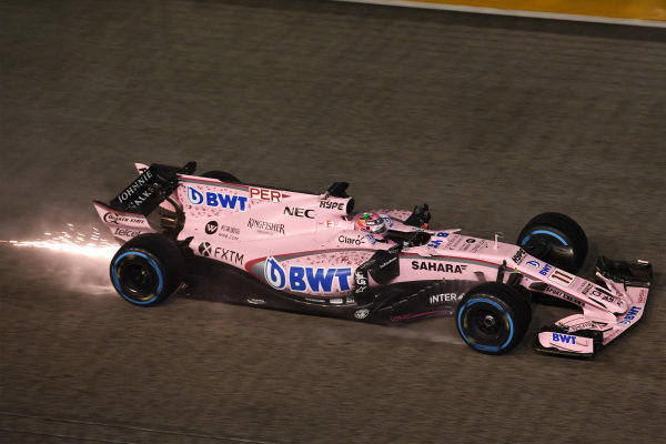 Sergio Perez (MEX) Force India VJM10 sparks at Formula One World Championship, Rd14, Singapore Grand Prix, Race, Marina Bay Street Circuit, Singapore, Sunday 17 September 2017. BEST IMAGE