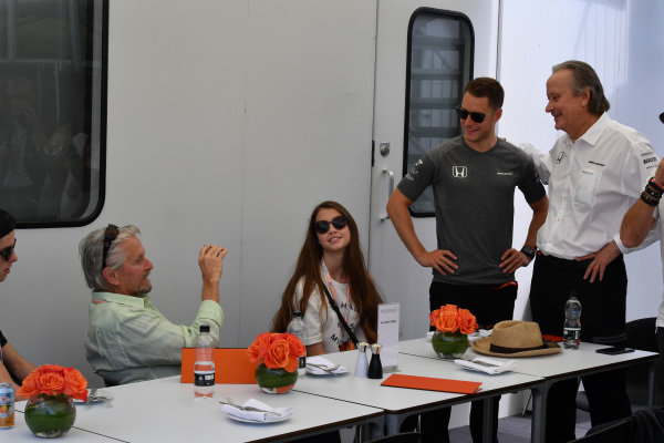 Michael Douglas (USA) with his son Dylan Douglas (USA) and daughter Carys Zeta-Douglas (USA) and Stoffel Vandoorne (BEL) McLaren and Mansour Ojjeh (KSA) TAG at Formula One World Championship, Rd7, Canadian Grand Prix, Qualifying, Montreal, Canada, Saturday 10 June 2017.