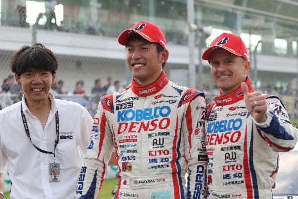 GT500 winner Heikki Kovalainen & Yuichi Nakayama ( #39 DENSO KOBELCO SARD LC500 ) in parcferme
