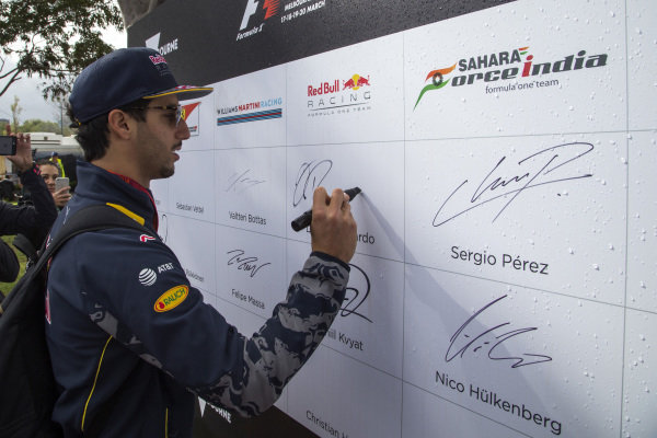 Daniel Ricciardo (AUS) Red Bull Racing signs the autograph wall at Formula One World Championship, Rd1, Australian Grand Prix, Practice, Albert Park, Melbourne, Australia, Friday 18 March 2016.