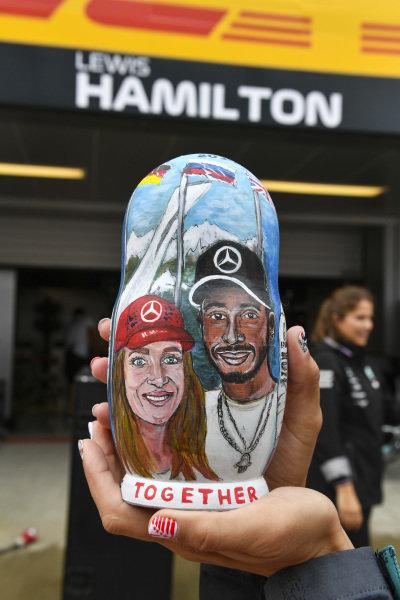 A fan with Lewis Hamilton Mercedes AMG F1 Matryoshka doll