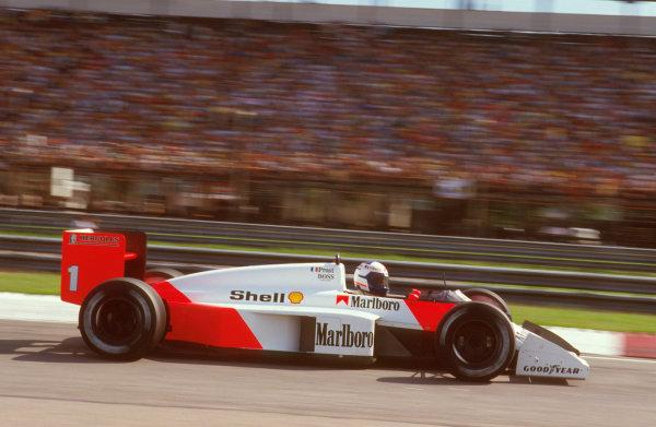Jacarepagua, Rio de Janeiro, Brazil.10-12 April 1987.Alain Prost (McLaren MP4/3 TAG Porsche) 1st position.Ref-87 BRA 11.World Copyright - LAT Photographic