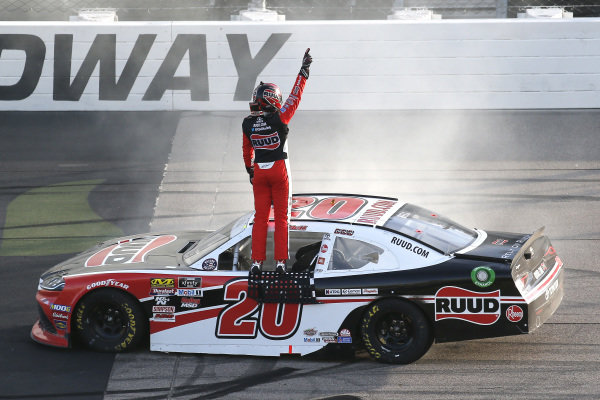 #20: Christopher Bell, Joe Gibbs Racing, Toyota Supra Ruud celebrates his win