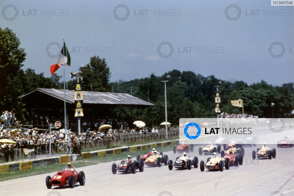 Monza, Italy. 29th June 1958.Luigi Musso/Mike Hawthorn (Ferrari V12 4 2-litre), 3rd position, overall, at the start of a heat, action. The race was also known as Monzanapolis.World Copyright: LAT Photographic.Ref: Colour Transparency.