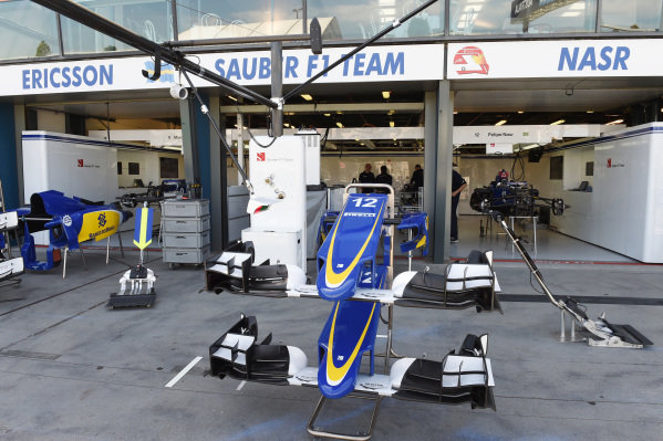 Sauber C34 nose and front wings at Formula One World Championship, Rd1, Australian Grand Prix, Preparations, Albert Park, Melbourne, Australia, Wednesday 11  March 2015.