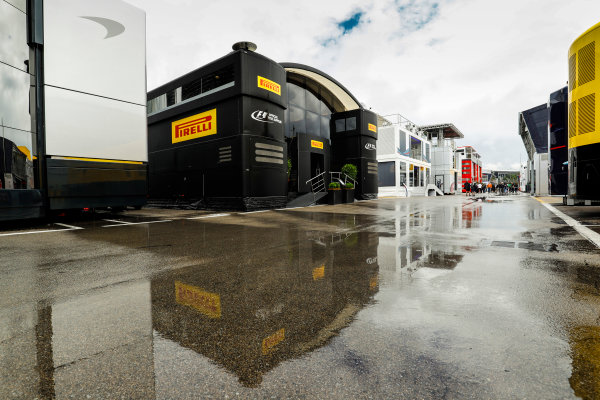 Circuit de Catalunya, Barcelona, Spain. Thursday 11 May 2017. The Pirelli hospitality unit in the paddock. World Copyright: Steven Tee/LAT Images ref: Digital Image _O3I1521