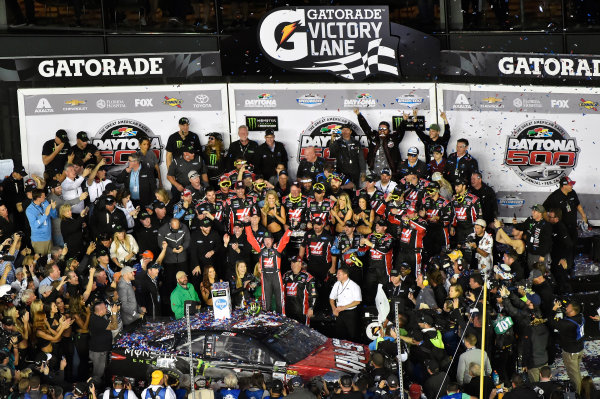 2017 Monster Energy NASCAR Cup Series - Daytona 500 Daytona International Speedway, Daytona Beach, FL USA Sunday 26 February 2017 Kurt Busch celebrates his win World Copyright: Nigel Kinrade/LAT Images  ref: Digital Image _DSC8016