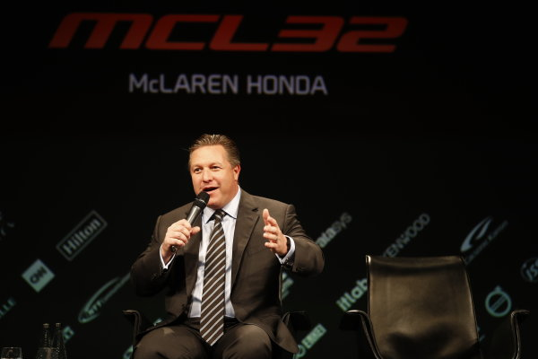 McLaren MCL32 Honda Formula 1 Launch. McLaren Technology Centre, Woking, UK. Friday 24 February 2017. Zak Brown, Executive Director of McLaren Technology Group, is interviewed on stage. World Copyright: Glenn Dunbar/LAT Images Ref: _X4I9427