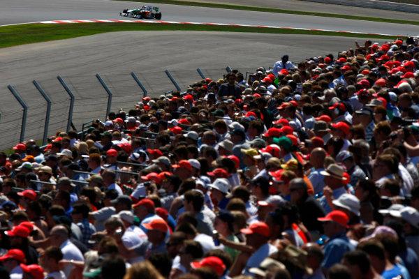 Silverstone, Northamptonshire, England9th July 2010Vitantonio Liuzzi, Force India VJM03 Mercedes. Action. World Copyright: Charles Coates/LAT Photographicref: Digital Image _26Y1216