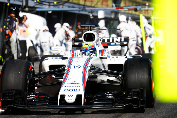 Albert Park, Melbourne, Australia. Sunday 26 March 2017. Felipe Massa, Williams FW40 Mercedes, exits from a pit stop. World Copyright: Steven Tee/LAT Images ref: Digital Image _R3I0733