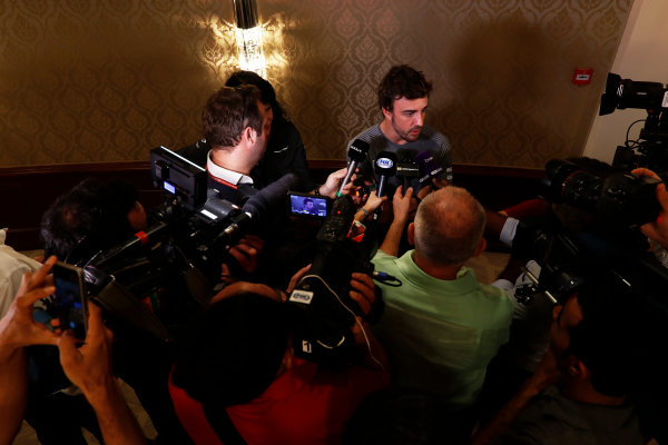 Bahrain International Circuit, Sakhir, Bahrain.  Wednesday 12 April 2017. Fernando Alonso talks to the media after announcing his deal to race in the 2017 Indianapolis 500 in an Andretti Autosport run McLaren Honda car. World Copyright: Glenn Dunbar/LAT Images ref: Digital Image _X4I0259