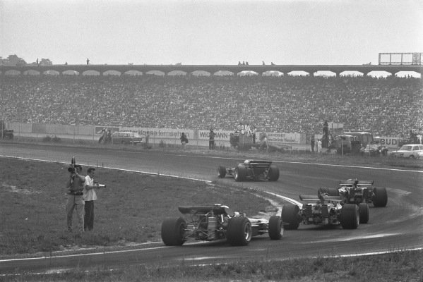 1970 German Grand Prix. Hockenheim, Germany. 31st July - 2nd August 1970. Race action of a car coming through the Agip Kurve, action.  World Copyright: LAT Photographic. Ref: 1324F - 20A.