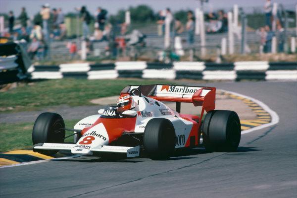 Brands Hatch, England. 23rd - 25th September 1983. Niki Lauda (McLaren MP4/1E-TAG Porsche), retired, action.  World Copyright: LAT Photographic.  Ref: 83EUR25.